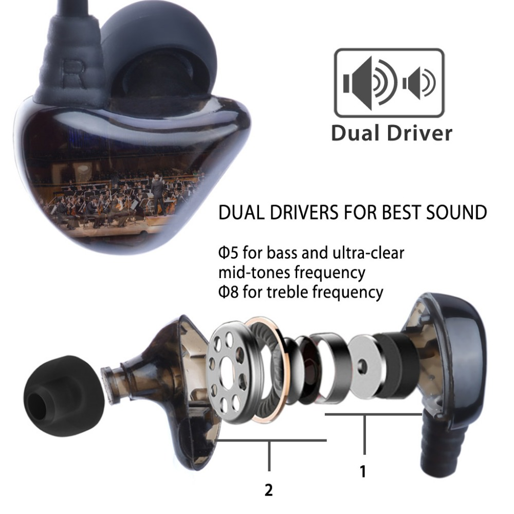 Avantree Dual Driver High Definition In Ear Earphone Heavy